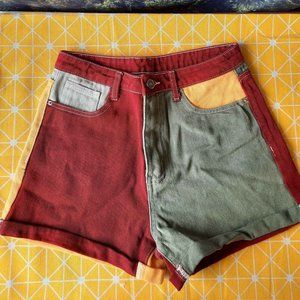 Colorblock Denim Shorts - High Waisted - Small